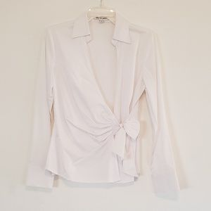 EXPRESS Cute White Bow Front Button Down Shirt